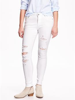 Mid-Rise Rockstar Distressed Jeans - Bright White